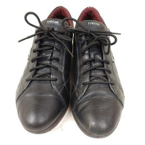 Geox Respira Sneakers Black Leather Lace up Sz 10